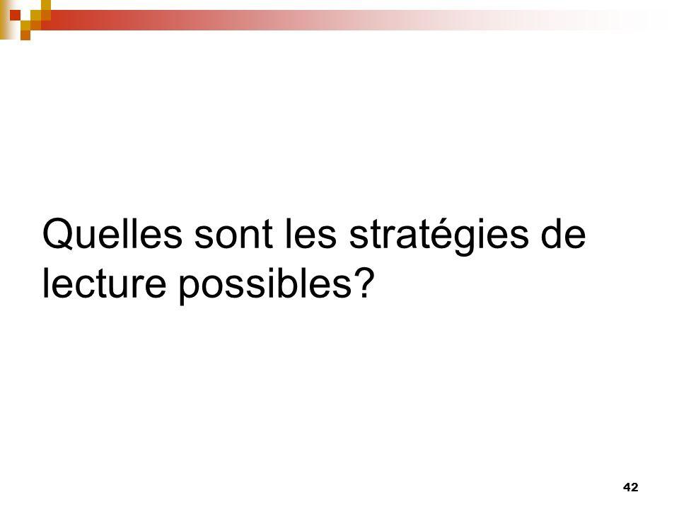 Les stratégies de lecture 43 Il existe trois ensembles de stratégies: