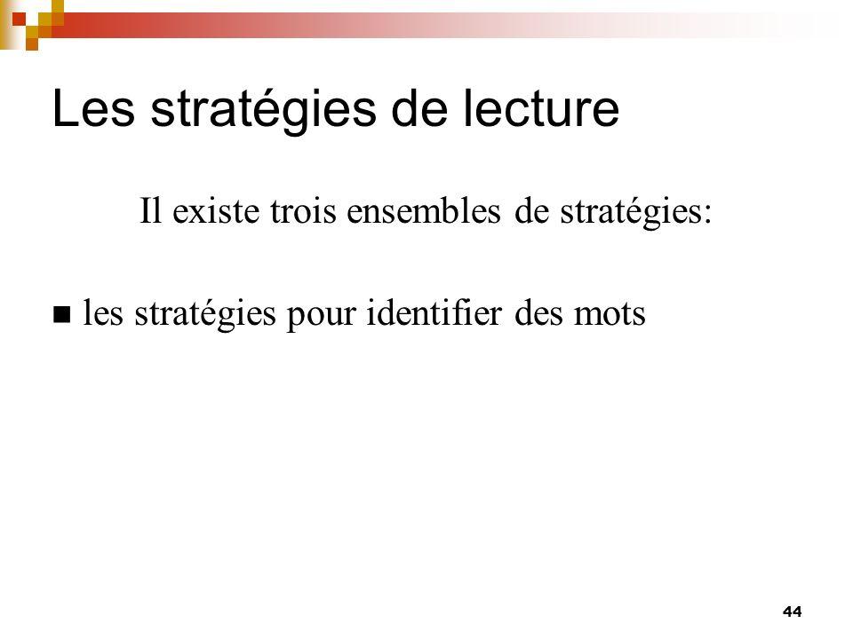 Les stratégies de lecture 45 Il existe trois ensembles de stratégies: les stratégies pour identifier des mots les stratégies pour comprendre