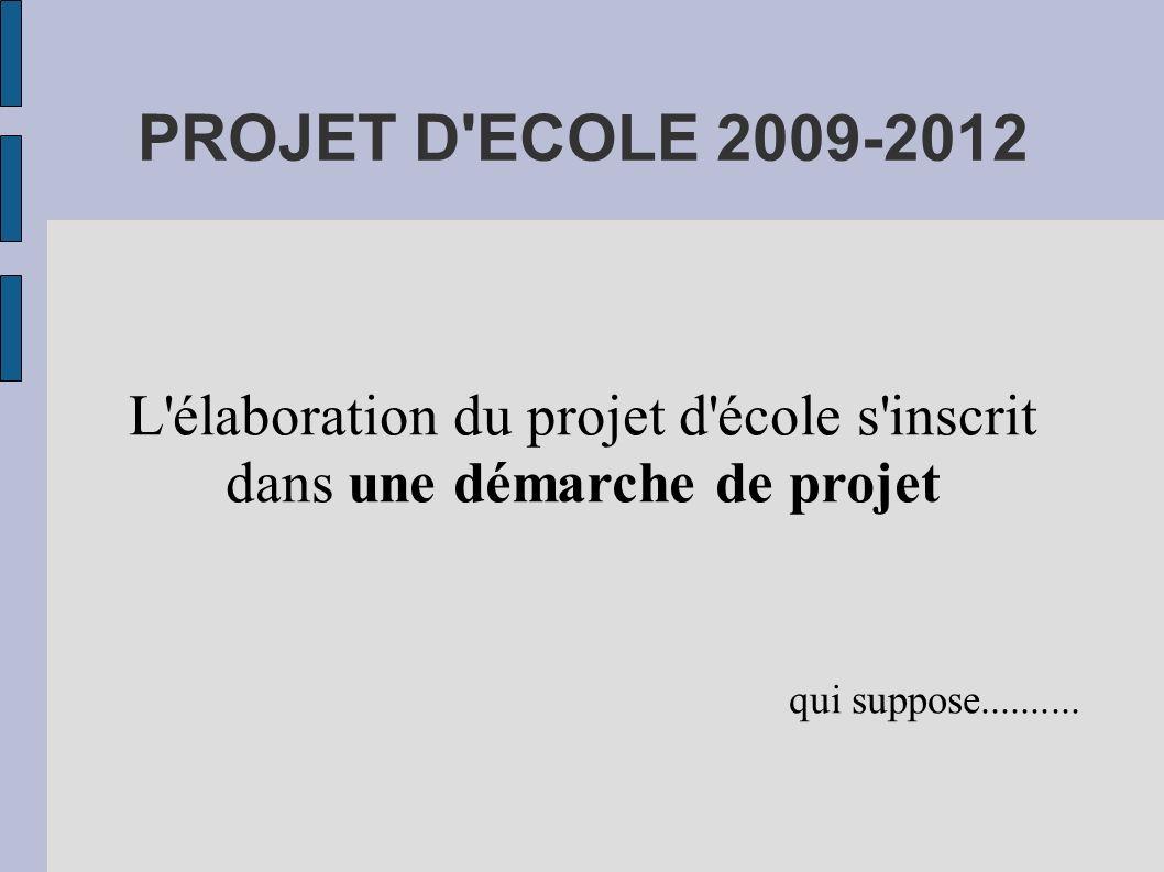 PROJET D'ECOLE 2009-2012 L'élaboration du projet d'école s'inscrit dans une démarche de projet qui suppose..........