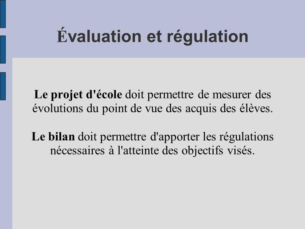 É valuation et régulation Le projet d'école doit permettre de mesurer des évolutions du point de vue des acquis des élèves. Le bilan doit permettre d'