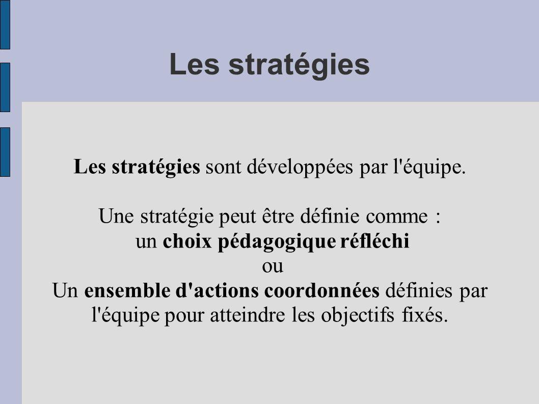Les stratégies Les stratégies sont développées par l'équipe. Une stratégie peut être définie comme : un choix pédagogique réfléchi ou Un ensemble d'ac