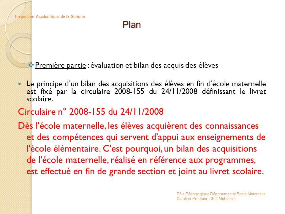 Première partie : évaluation et bilan des acquis des élèves Le principe dun bilan des acquisitions des élèves en fin décole maternelle est fixé par la