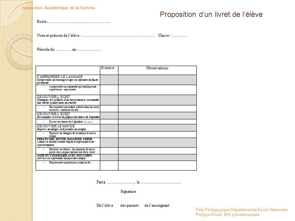 Pôle Pédagogique Départemental Ecole Maternelle Philippe Poirel, IEN pré-élémentaire Inspection Académique de la Somme Proposition dun livret de lélèv