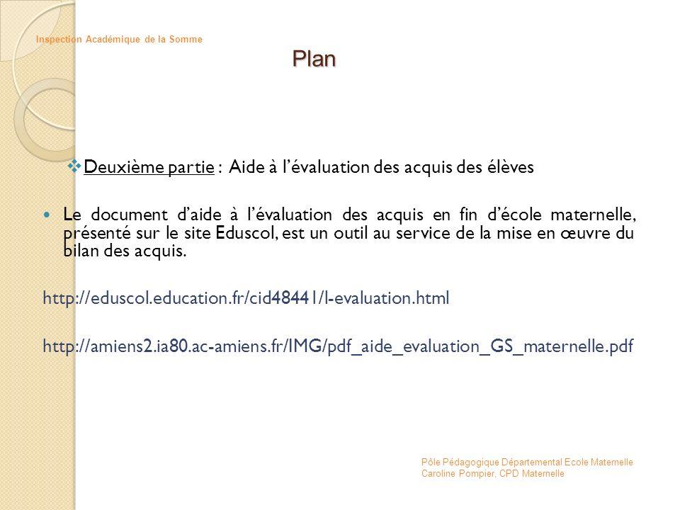 Deuxième partie : Aide à lévaluation des acquis des élèves Le document daide à lévaluation des acquis en fin décole maternelle, présenté sur le site E
