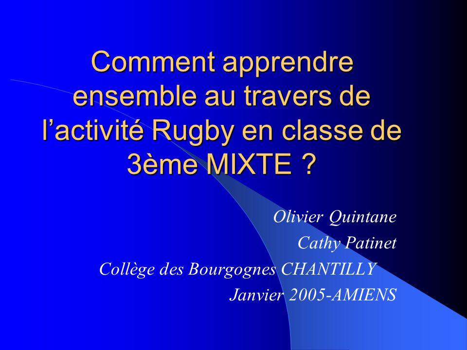 Comment apprendre ensemble au travers de lactivité Rugby en classe de 3ème MIXTE .
