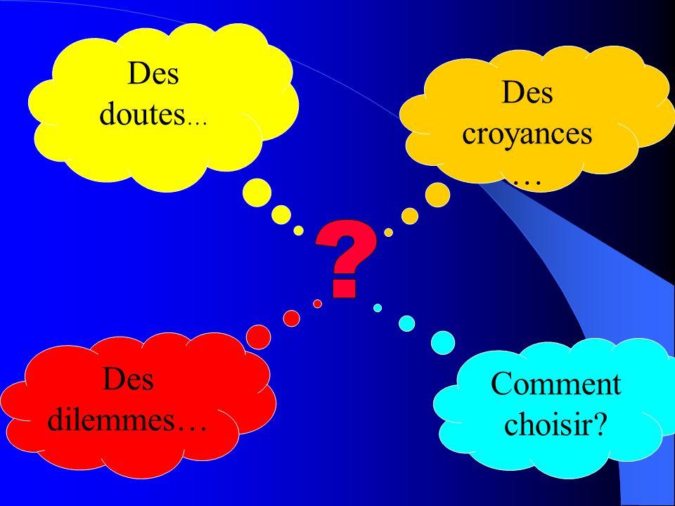 Des doutes … Des dilemmes… Des croyances … Comment choisir?