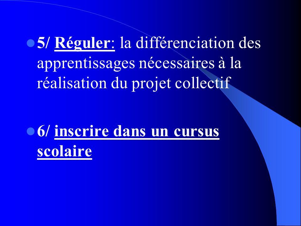 5/ Réguler: la différenciation des apprentissages nécessaires à la réalisation du projet collectif 6/ inscrire dans un cursus scolaire
