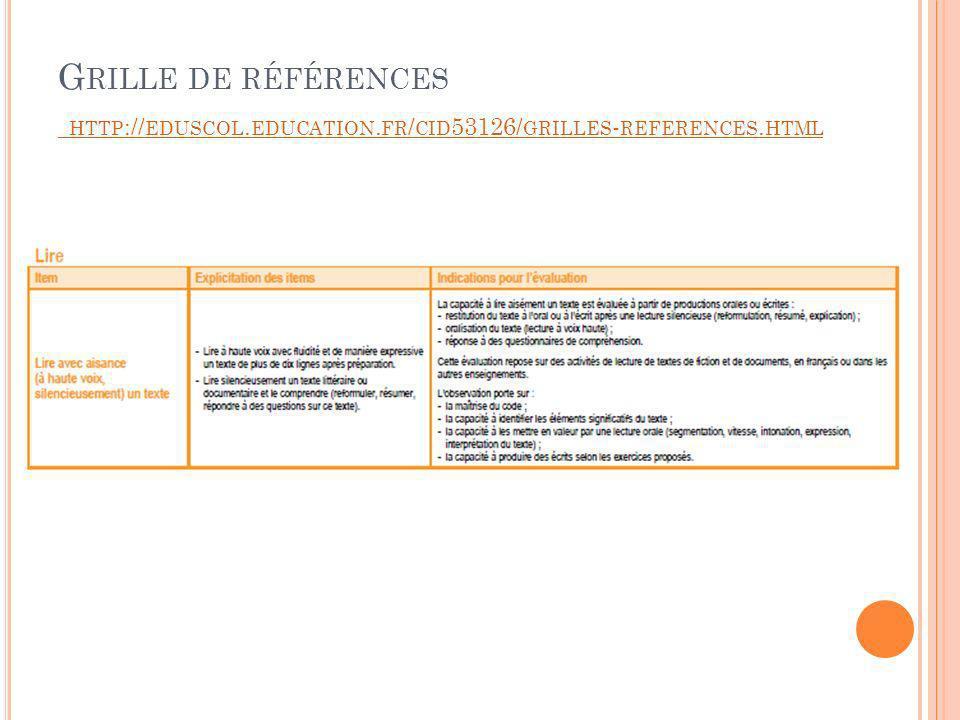 G RILLE DE RÉFÉRENCES HTTP :// EDUSCOL. EDUCATION.