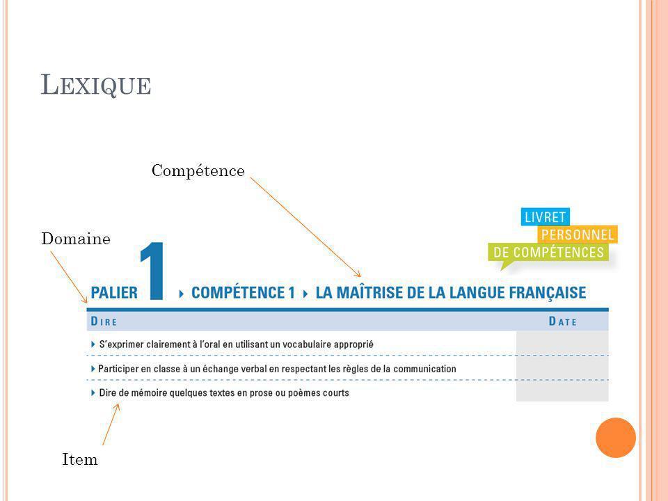 L EXIQUE Compétence Domaine Item