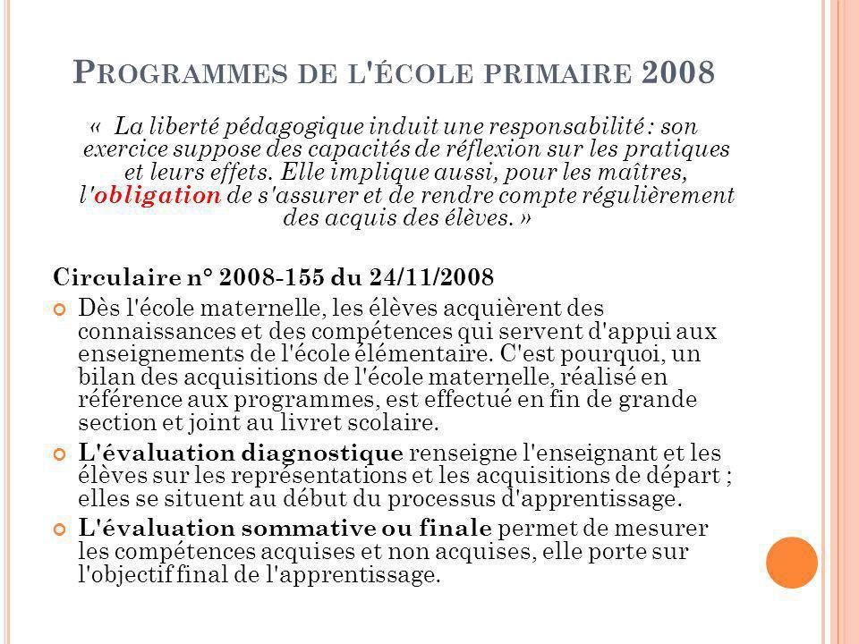 P ROGRAMMES DE L ÉCOLE PRIMAIRE 2008 « La liberté pédagogique induit une responsabilité : son exercice suppose des capacités de réflexion sur les pratiques et leurs effets.