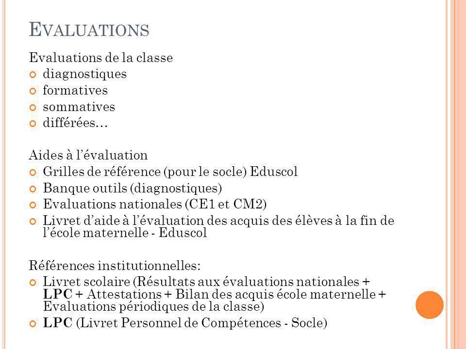 O UTILS D ANALYSE E VALUATION GS G RAPHIQUES (B ILAN CLASSE )