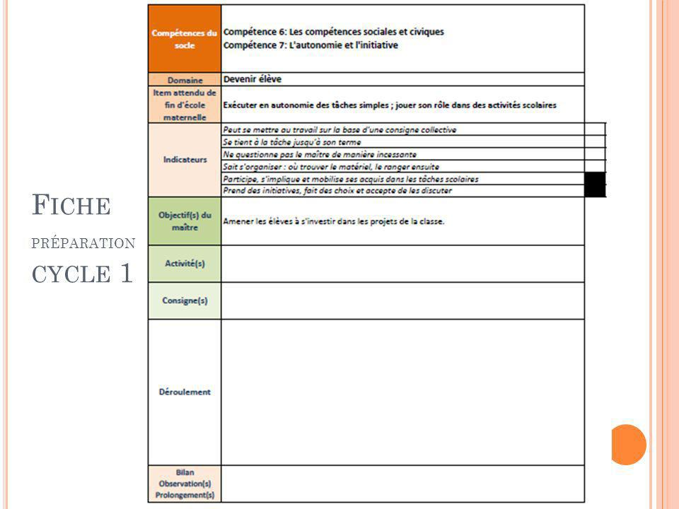 G RILLE D OBSERVATION CYCLE 1