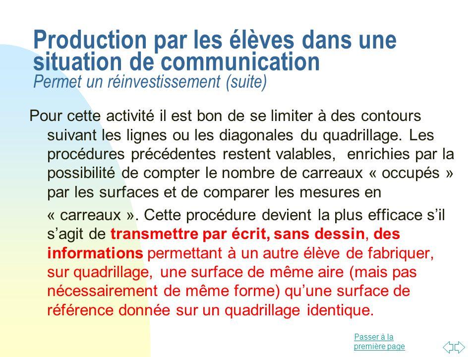 Passer à la première page Production par les élèves dans une situation de communication Permet un réinvestissement (suite) Pour cette activité il est