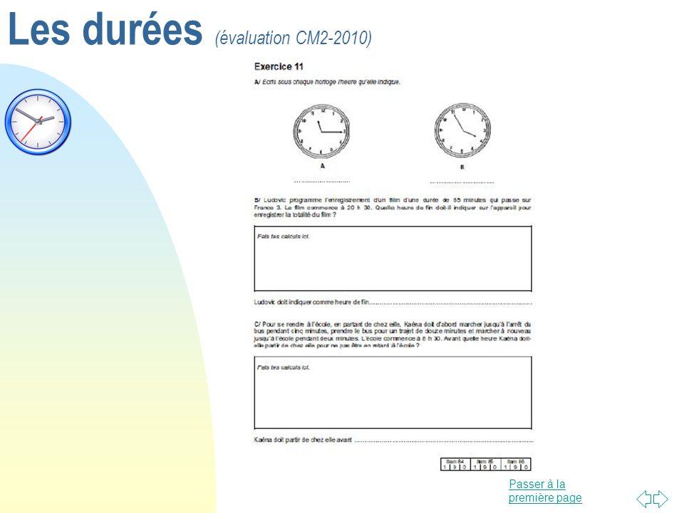 Passer à la première page Les durées (évaluation CM2-2010)