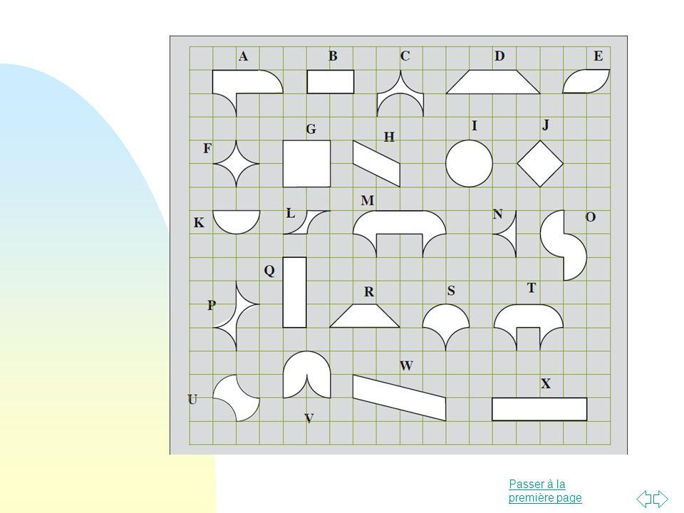 Passer à la première page Production par les élèves dans une situation de communication Permet un réinvestissement (suite) Pour cette activité il est bon de se limiter à des contours suivant les lignes ou les diagonales du quadrillage.
