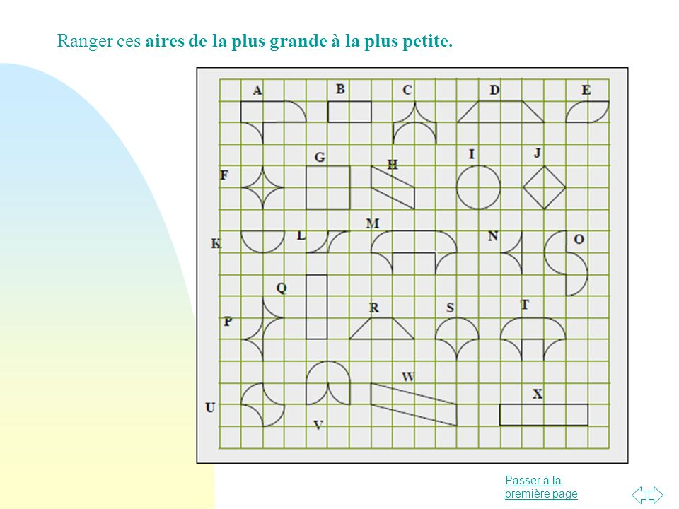 Passer à la première page La notion de grandeur Comparer des aires n Laire est une grandeur associée aux surfaces, difficile à faire percevoir et souvent confondue avec la longueur du pourtour.