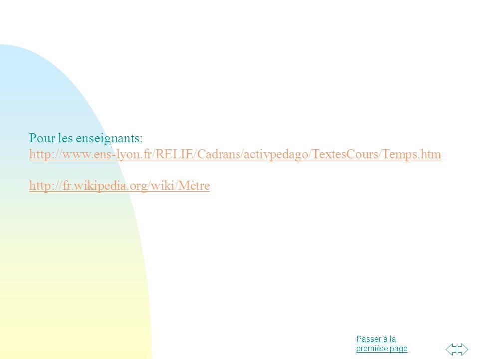 Passer à la première page Pour les enseignants: http://www.ens-lyon.fr/RELIE/Cadrans/activpedago/TextesCours/Temps.htm http://fr.wikipedia.org/wiki/Mè