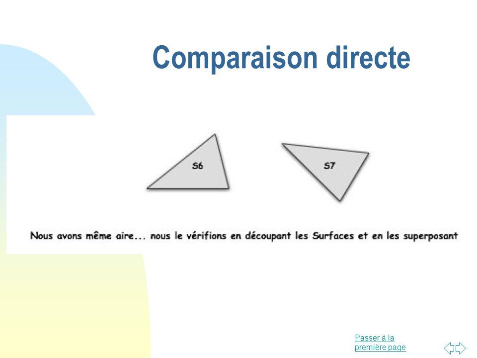 Passer à la première page Comparaison directe