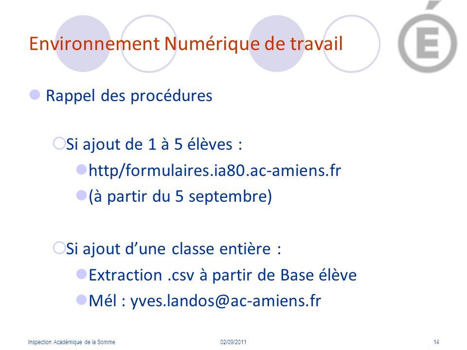 Environnement Numérique de travail Rappel des procédures Si ajout de 1 à 5 élèves : http/formulaires.ia80.ac-amiens.fr (à partir du 5 septembre) Si aj