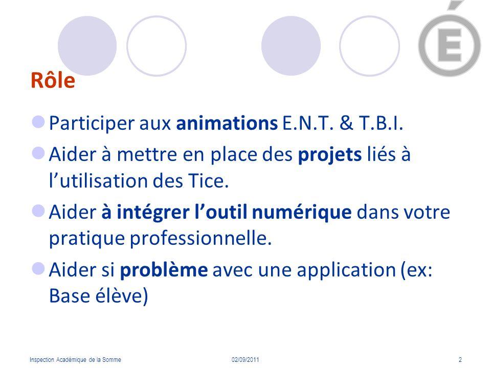 Rôle Participer aux animations E.N.T. & T.B.I. Aider à mettre en place des projets liés à lutilisation des Tice. Aider à intégrer loutil numérique dan