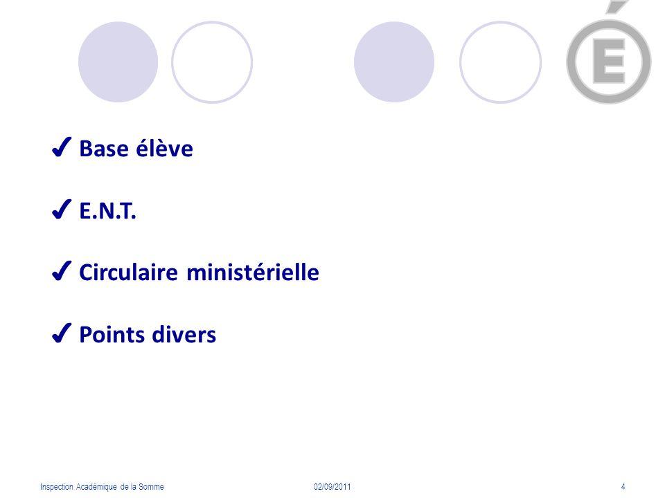 Inspection Académique de la Somme02/09/20114 Base élève E.N.T. Circulaire ministérielle Points divers