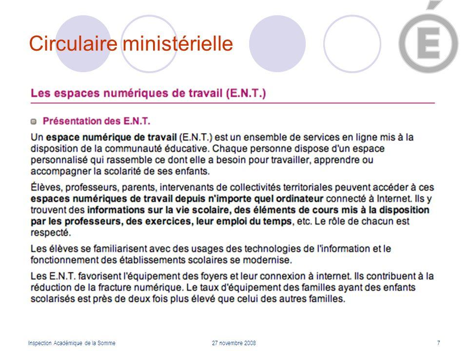 Circulaire ministérielle Inspection Académique de la Somme27 novembre 20088