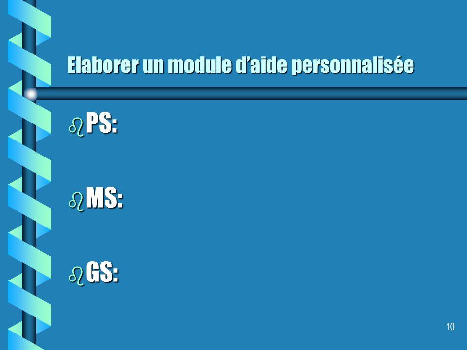 Elaborer un module daide personnalisée b PS: b MS: b GS: 10