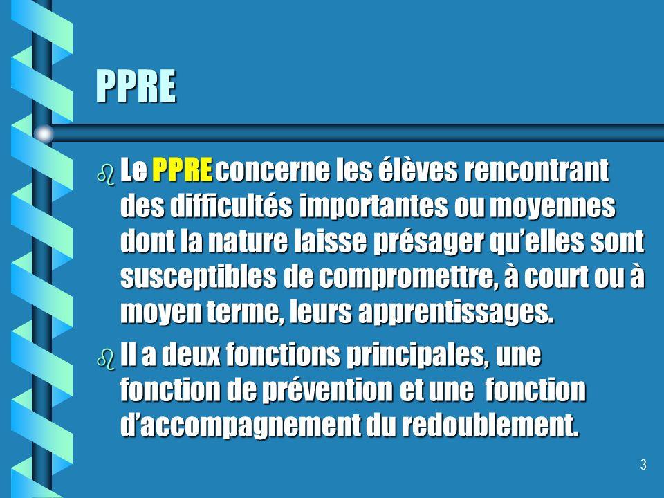 PPRE b Le PPRE concerne les élèves rencontrant des difficultés importantes ou moyennes dont la nature laisse présager quelles sont susceptibles de compromettre, à court ou à moyen terme, leurs apprentissages.