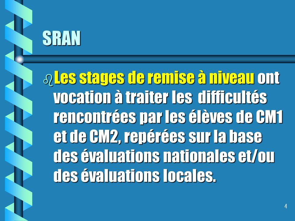 SRAN b Les stages de remise à niveau ont vocation à traiter les difficultés rencontrées par les élèves de CM1 et de CM2, repérées sur la base des évaluations nationales et/ou des évaluations locales.