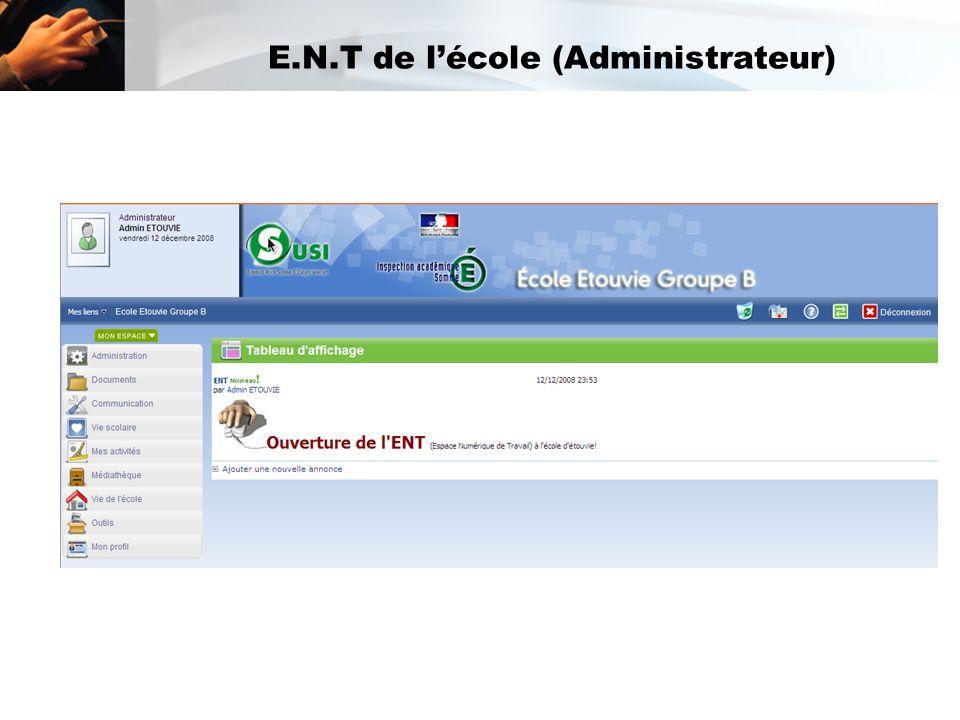 E.N.T de lécole (Administrateur)