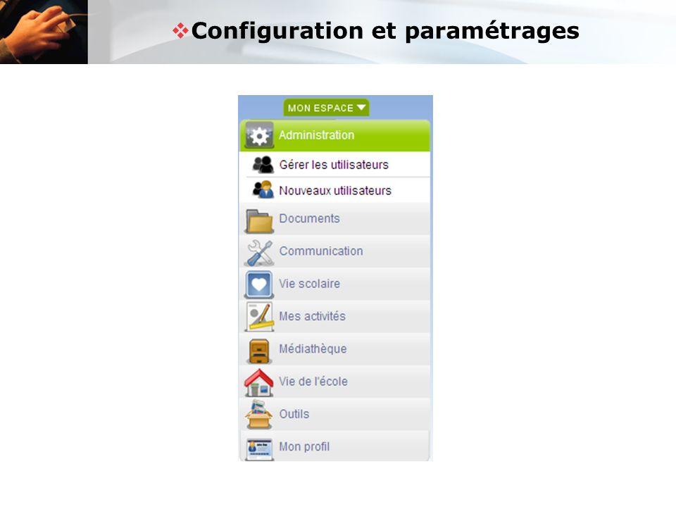 Configuration et paramétrages