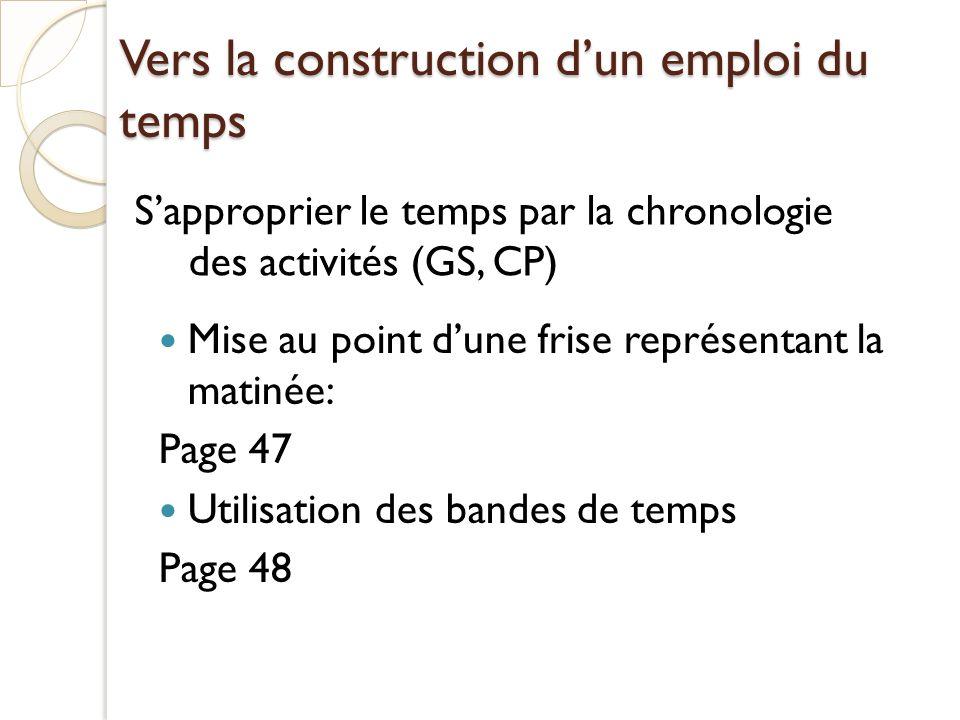 Vers la construction dun emploi du temps Mise au point dune frise représentant la matinée: Page 47 Utilisation des bandes de temps Page 48 Sapproprier