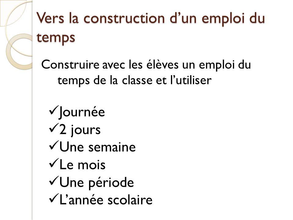 Vers la construction dun emploi du temps Construire avec les élèves un emploi du temps de la classe et lutiliser Journée 2 jours Une semaine Le mois U