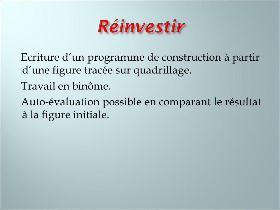 Ecriture dun programme de construction à partir dune figure tracée sur quadrillage. Travail en binôme. Auto-évaluation possible en comparant le résult