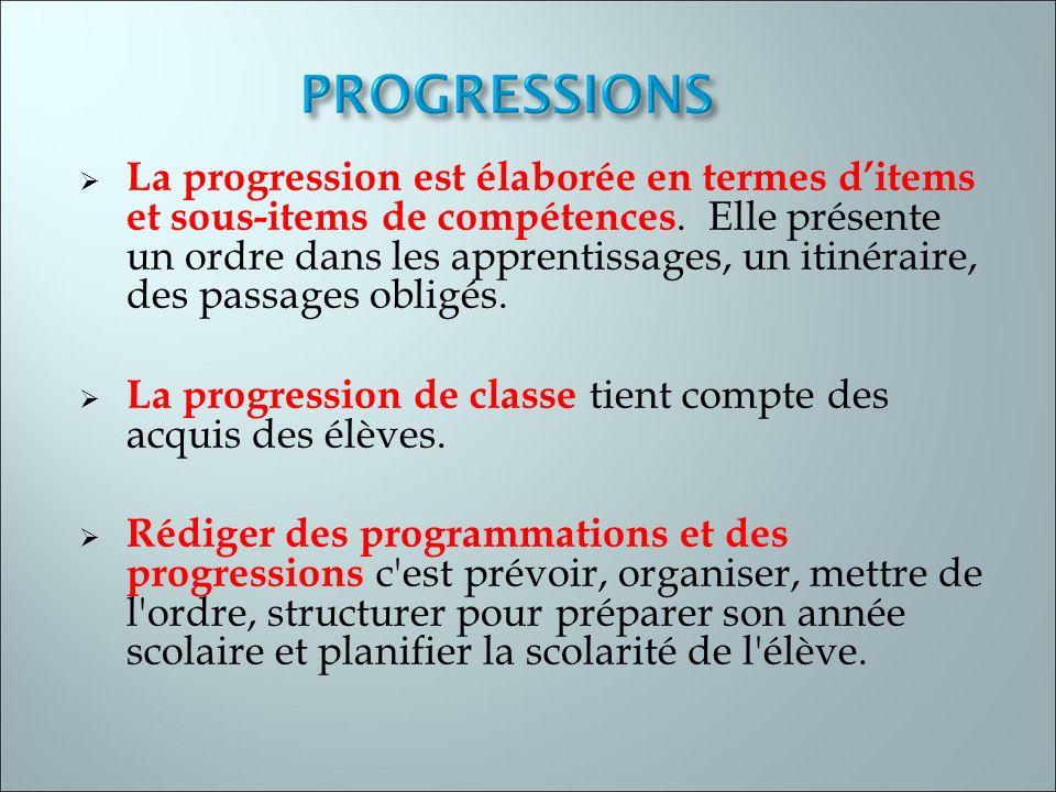 La progression est élaborée en termes ditems et sous-items de compétences. Elle présente un ordre dans les apprentissages, un itinéraire, des passages