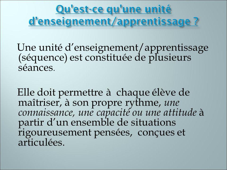 Une unité denseignement/apprentissage (séquence) est constituée de plusieurs séances. Elle doit permettre à chaque élève de maîtriser, à son propre ry