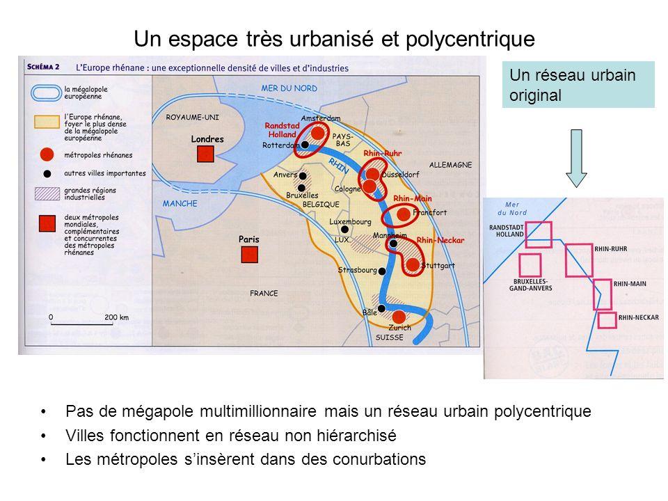 Un espace très urbanisé et polycentrique Pas de mégapole multimillionnaire mais un réseau urbain polycentrique Villes fonctionnent en réseau non hiéra