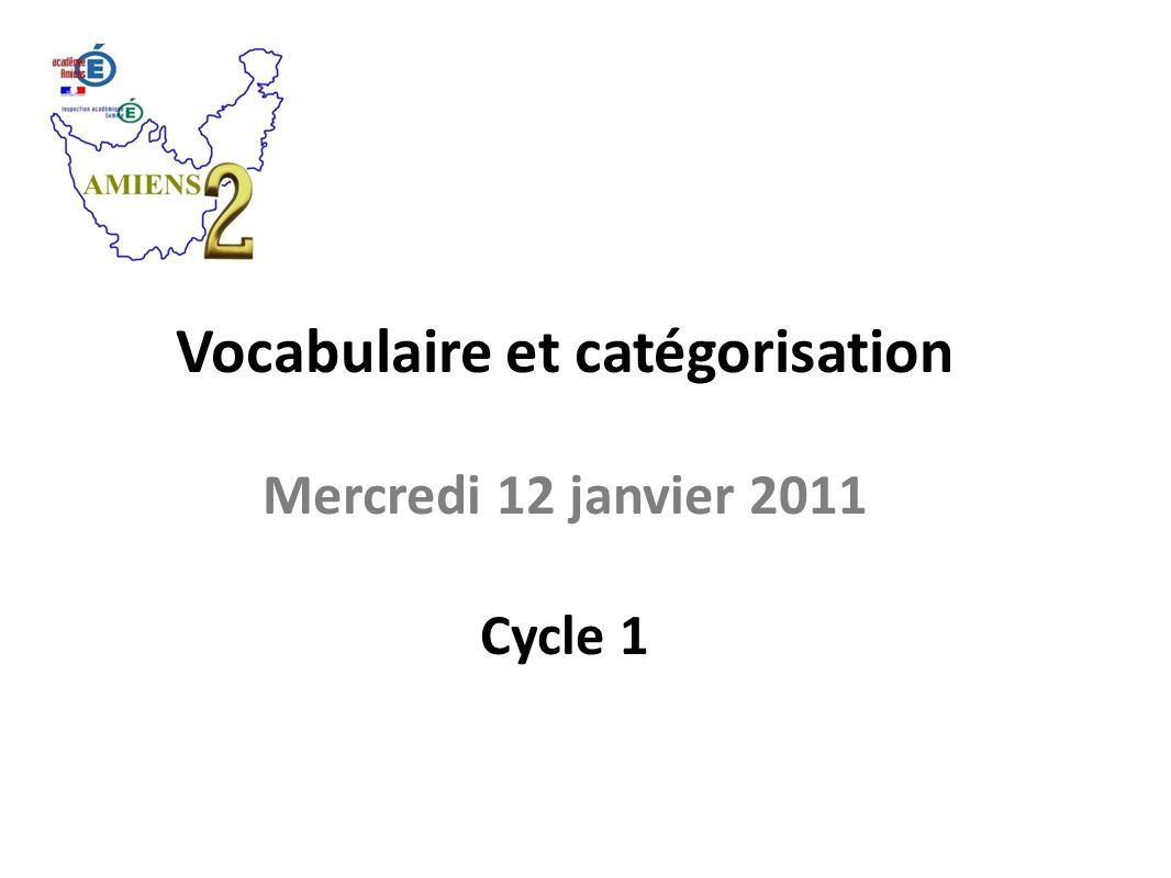 Vocabulaire et catégorisation Mercredi 12 janvier 2011 Cycle 1