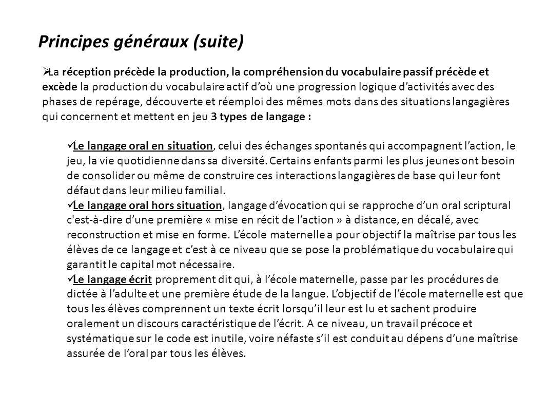 Principes généraux (suite) La réception précède la production, la compréhension du vocabulaire passif précède et excède la production du vocabulaire a