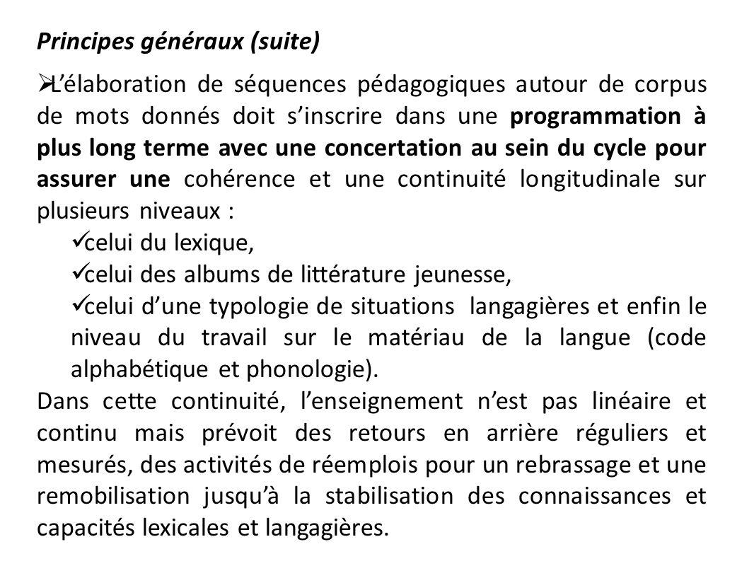 Principes généraux (suite) Lélaboration de séquences pédagogiques autour de corpus de mots donnés doit sinscrire dans une programmation à plus long te