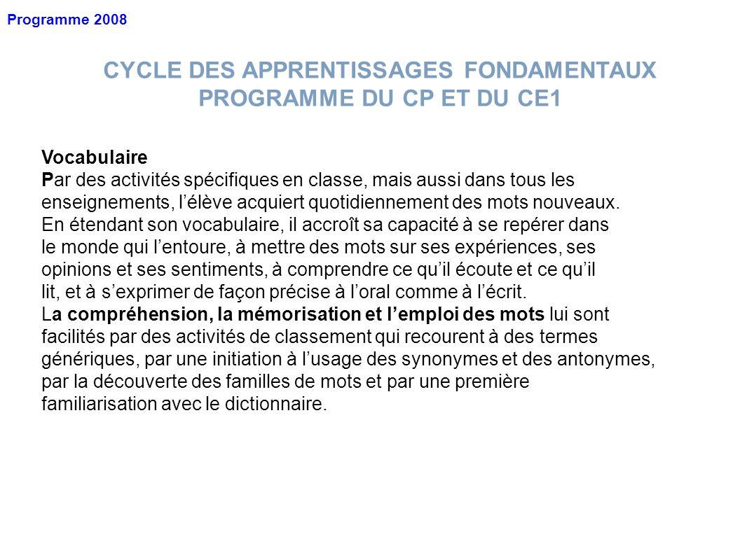 CYCLE DES APPRENTISSAGES FONDAMENTAUX PROGRAMME DU CP ET DU CE1 Vocabulaire Par des activités spécifiques en classe, mais aussi dans tous les enseigne