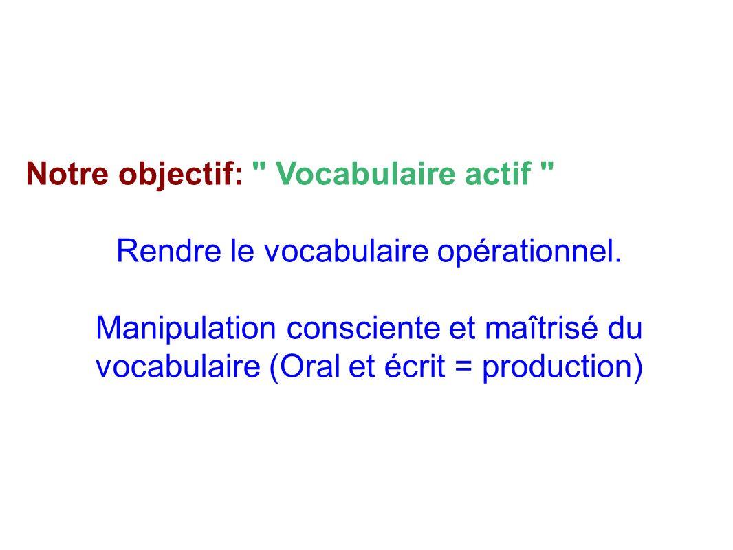 Notre objectif: Vocabulaire actif Rendre le vocabulaire opérationnel.