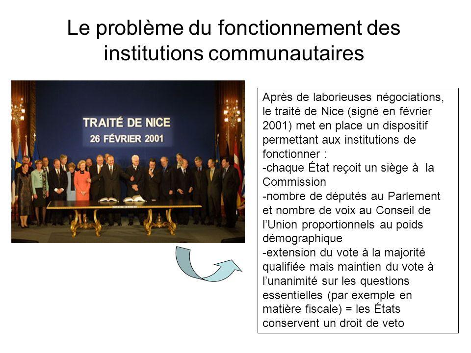 Le problème du fonctionnement des institutions communautaires Après de laborieuses négociations, le traité de Nice (signé en février 2001) met en plac