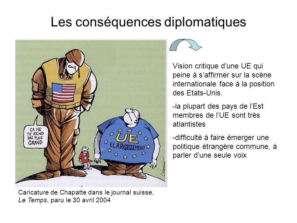 Les conséquences diplomatiques Caricature de Chapatte dans le journal suisse, Le Temps, paru le 30 avril 2004 Vision critique dune UE qui peine à saffirmer sur la scène internationale face à la position des Etats-Unis.