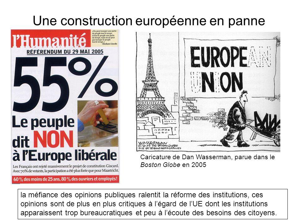Une construction européenne en panne la méfiance des opinions publiques ralentit la réforme des institutions, ces opinions sont de plus en plus critiq