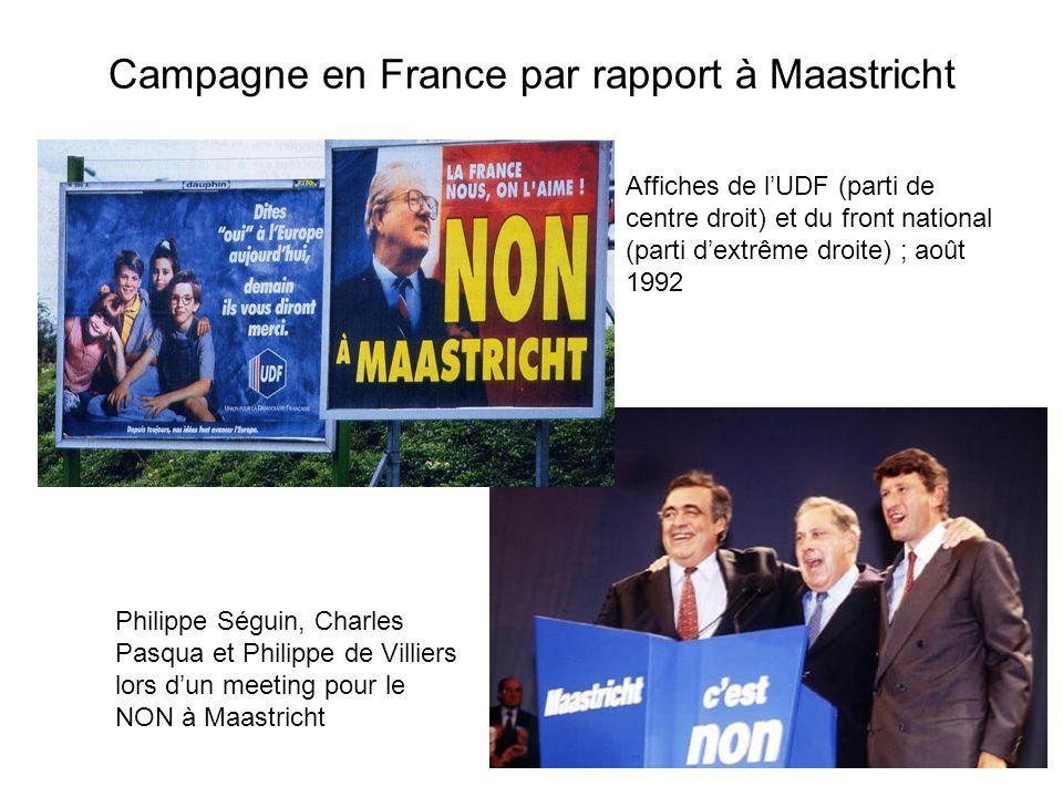 Campagne en France par rapport à Maastricht Philippe Séguin, Charles Pasqua et Philippe de Villiers lors dun meeting pour le NON à Maastricht Affiches de lUDF (parti de centre droit) et du front national (parti dextrême droite) ; août 1992
