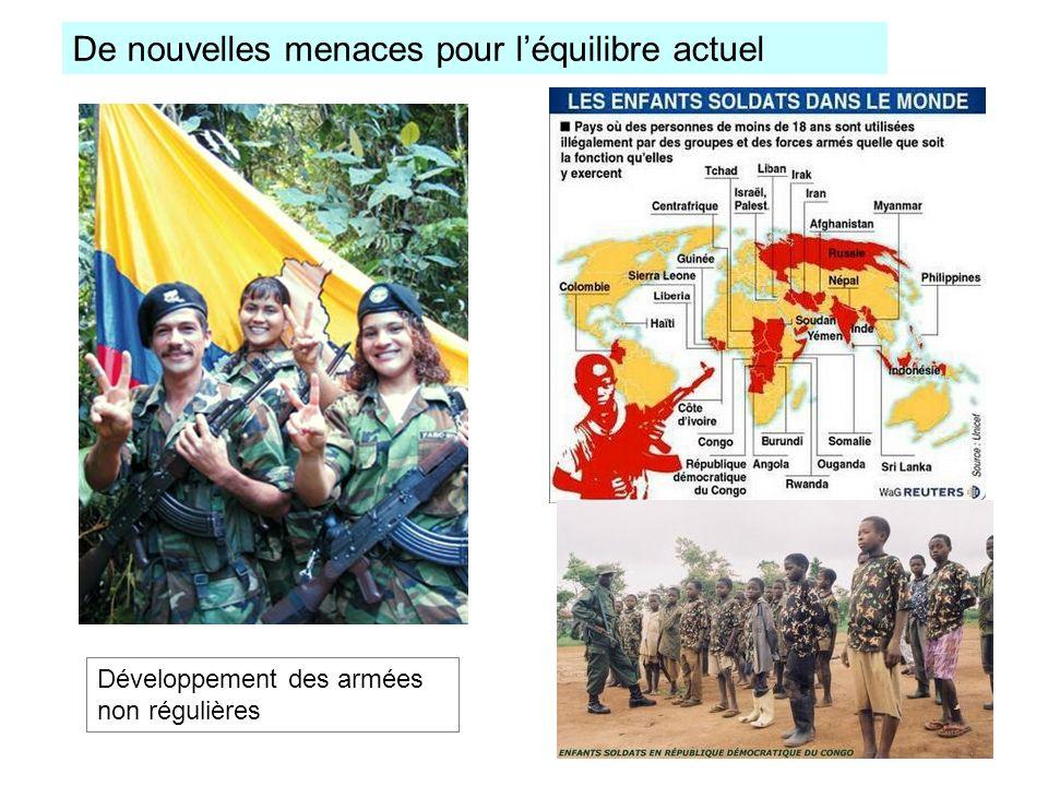 De nouvelles menaces pour léquilibre actuel Développement des armées non régulières