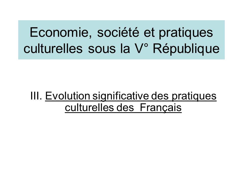 Economie, société et pratiques culturelles sous la V° République III. Evolution significative des pratiques culturelles des Français