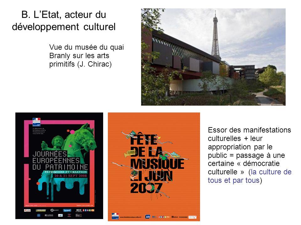 B. LEtat, acteur du développement culturel Essor des manifestations culturelles + leur appropriation par le public = passage à une certaine « démocrat
