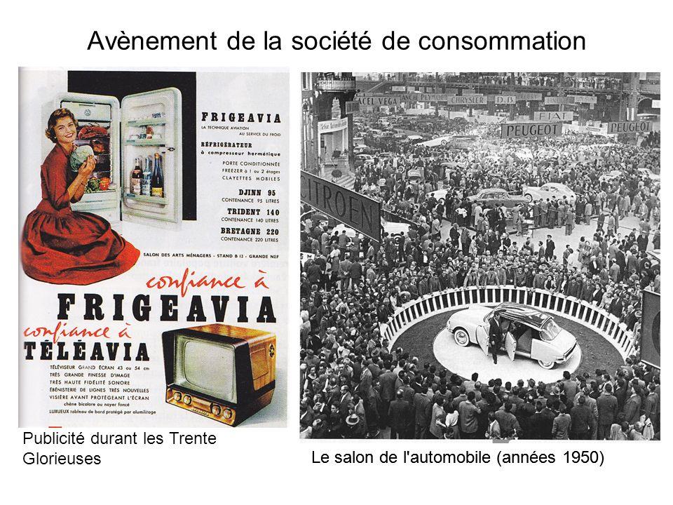 Avènement de la société de consommation Le salon de l'automobile (années 1950) Publicité durant les Trente Glorieuses